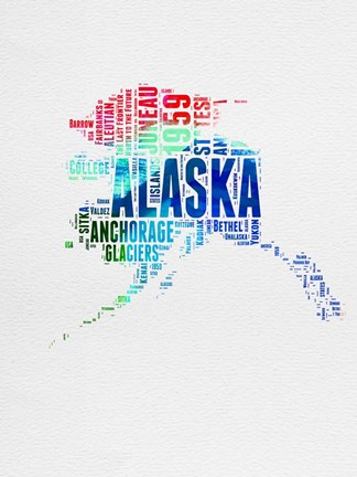 Framed Alaska Watercolor Word Cloud Print