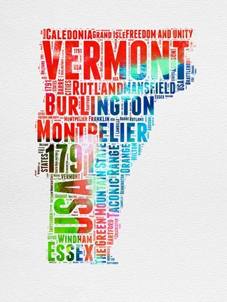 Framed Vermont Watercolor Word Cloud Print