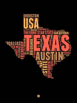 Framed Texas Word Cloud 1 Print