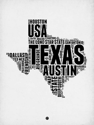 Framed Texas Word Cloud 2 Print