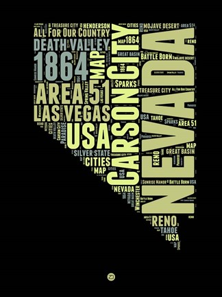 Framed Nevada Word Cloud 1 Print