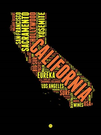 Framed California Word Cloud 1 Print