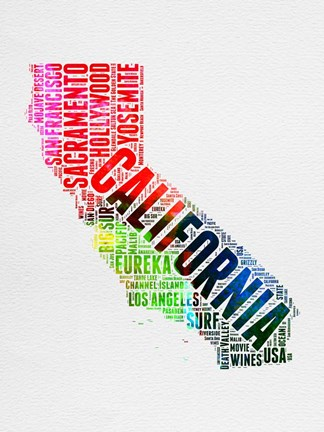 Framed California Watercolor Word Cloud Print