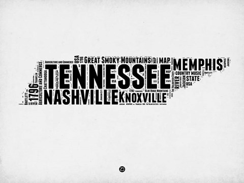 Framed Tennessee Word Cloud 2 Print
