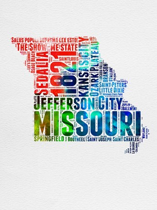 Framed Missouri Watercolor Word Cloud Print