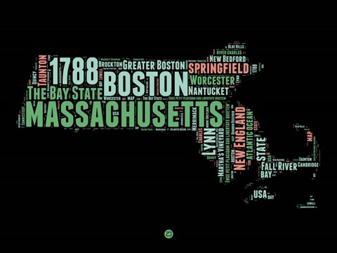 Framed Massachusetts Word Cloud 1 Print