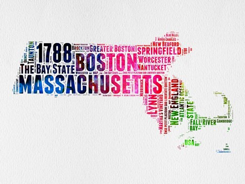 Framed Massachusetts Watercolor Word Cloud Print