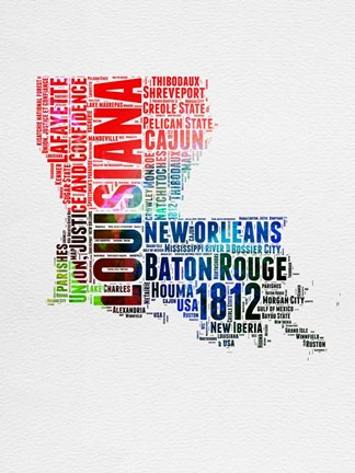 Framed Louisiana Watercolor Word Cloud Print