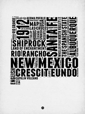 Framed New Mexico Word Cloud 2 Print