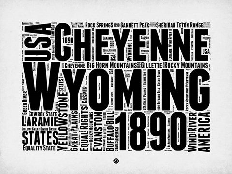 Framed Wyoming Word Cloud 2 Print
