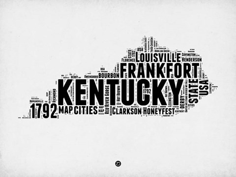 Framed Kentucky Word Cloud 2 Print