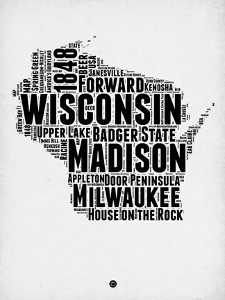 Framed Wisconsin Word Cloud 2 Print