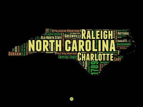 Framed North Carolina Word Cloud 1 Print