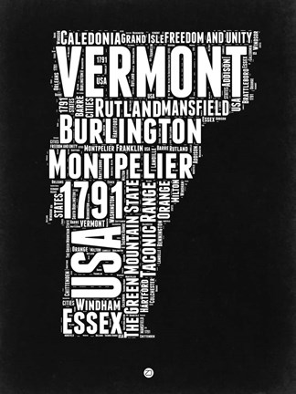 Framed Vermont Black and White Map Print