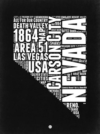 Framed Nevada Black and White Map Print