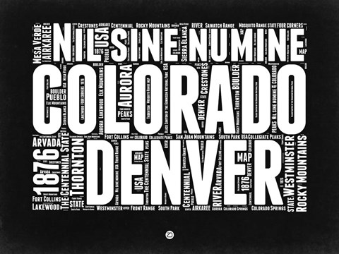 Framed Colorado Black and White Map Print
