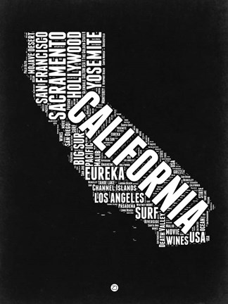 Framed California Black and White Map Print