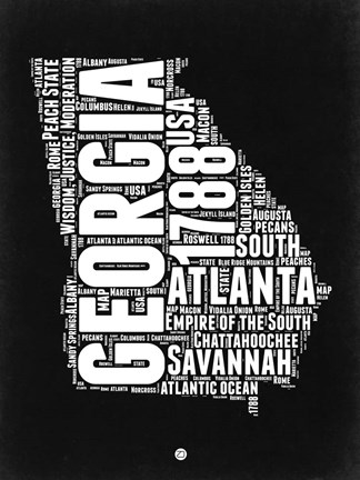 Framed Georgia Black and White Map Print