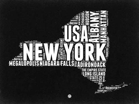 Framed New York Black and White Map Print