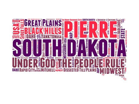 Framed South Dakota Word Cloud Map Print