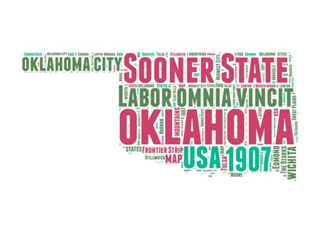 Framed Oklahoma Word Cloud Map Print