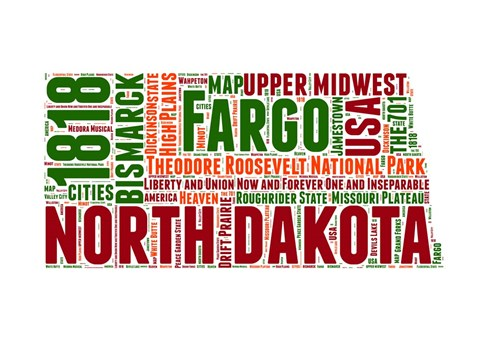 Framed North Dakota Word Cloud Map Print