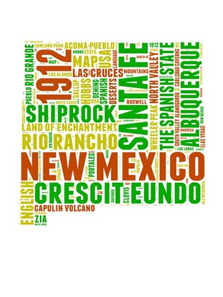 Framed New Mexico Word Cloud Map Print