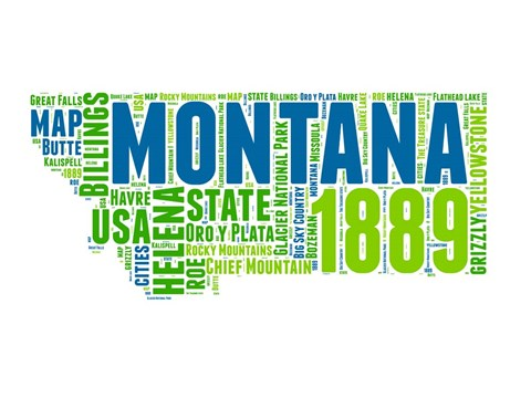 Framed Montana Word Cloud Map Print