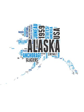 Framed Alaska Word Cloud Map Print