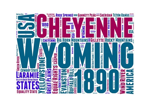 Framed Wyoming Word Cloud Map Print