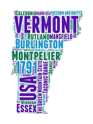 Framed Vermont Word Cloud Map Print