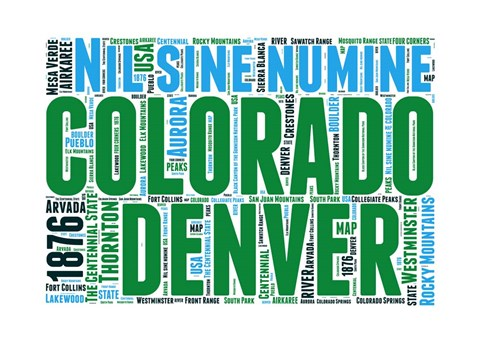 Framed Colorado Word Cloud Map Print