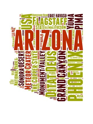 Framed Arizona Word Cloud Map Print