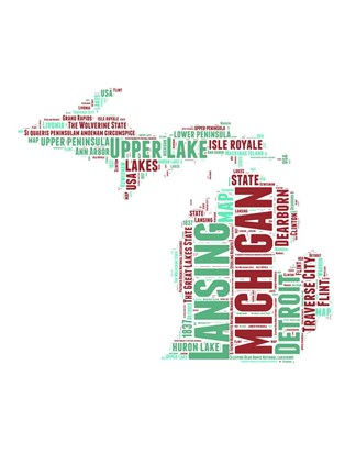 Framed Michigan Word Cloud Map Print