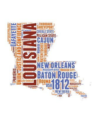 Framed Louisiana Word Cloud Map Print