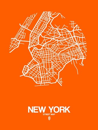 Framed New York Street Map Orange Print