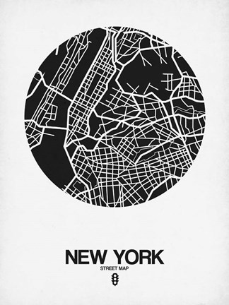 Framed New York Street Map Black and White Print