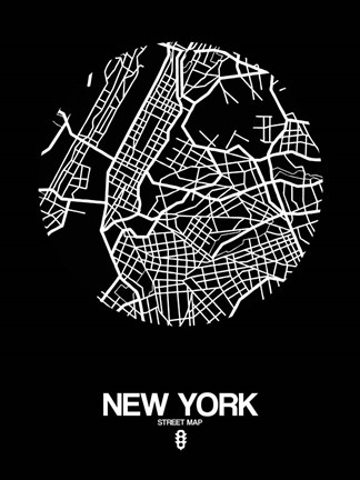 Framed New York Street Map Black Print