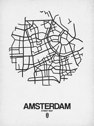 Framed Amsterdam Street Map White Print
