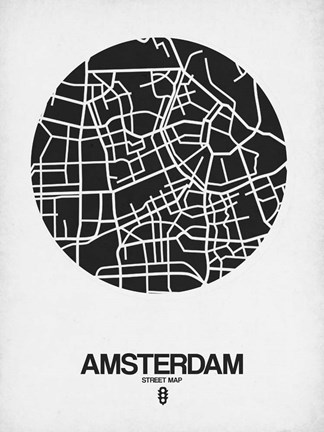Framed Amsterdam Street Map Black and White Print