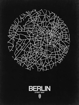 Framed Berlin Street Map Black Print