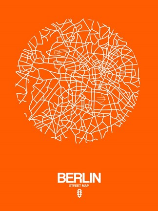 Framed Berlin Street Map Orange Print