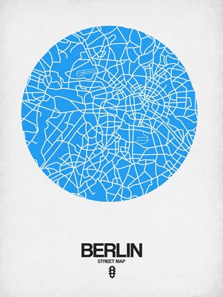 Framed Berlin Street Map Blue Print