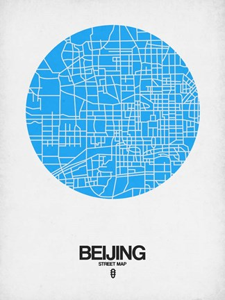 Framed Beijing Street Map Blue Print