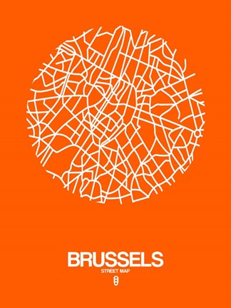 Framed Brussels Street Map Orange Print
