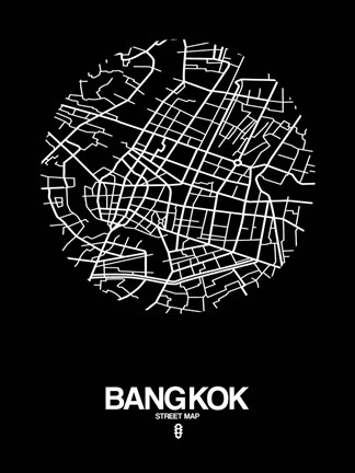 Framed Bangkok Street Map Black Print
