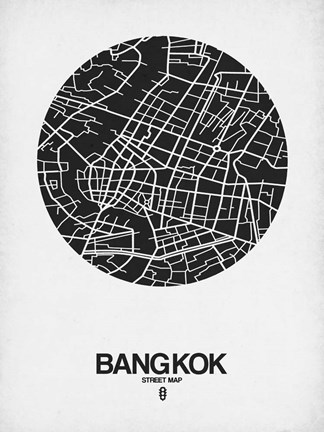 Framed Bangkok Street Map Black on White Print