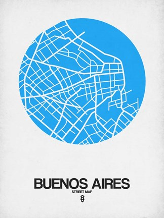 Framed Buenos Aires Street Map Blue Print