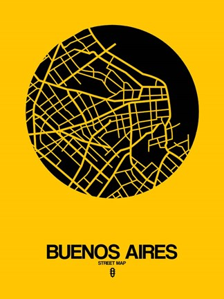 Framed Buenos Aires Street Map Yellow Print