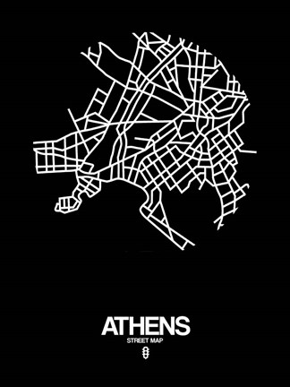 Framed Athens Street Map Black Print